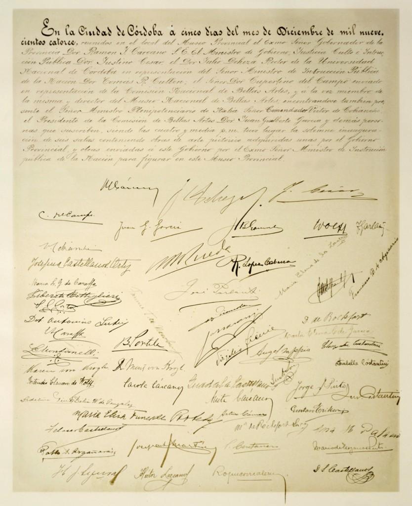 Acta inaugural de las Salas de Pintura del Museo Provincial (el documento original se conserva en el Museo Caraffa)